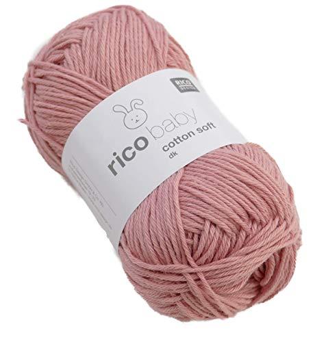 Rico Baby Cotton Soft dk Fb. 61 dunkel Altrosa, weiche Babywolle, Baumwollmischgarn zum Stricken & Häkeln -