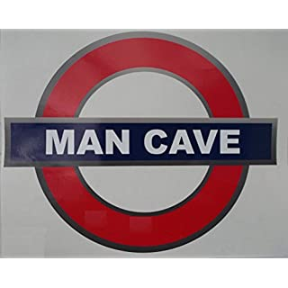 Self-adhesive Tube Style Man Cave sticker sign (180x150 mm)