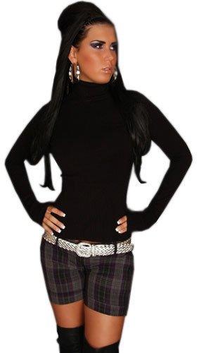 In Style Damen Pullover langärmelig mit Rollkragen, schwarz Größe 36 38 40