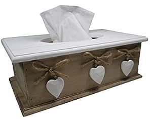 khevga Tissue Box - porta fazzoletti - Scatola per fazzoletti in legno, in stile rustico