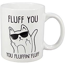 Pelusas You fluffin de pelusas gato con gafas de sol dedo medio divertido de café de cerámica taza de té ml Color blanco