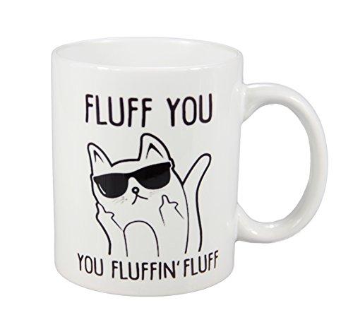 CUFUN Art Fluff Sie sie fluffin Fluff Katze mit Sonnenbrille Mittelfinger Funny Kaffeebecher aus Keramik Teetasse 313 ml weiß ...