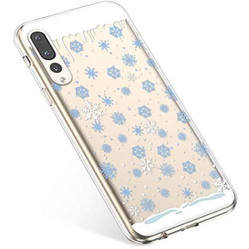 Uposao Handyhülle Huawei P20 Pro Schutzhülle Transparent Silikon Schutzhülle Handytasche Crystal Clear Durchsichtige Hülle TPU Cover Weich TPU Bumper Case,Blau Schneeflocken