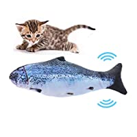 YuanWen Dancing Fish Cat Toy, Cat Fish Kicker Toy Moving Fish Electric Flopping Fish Cat Toy Interactive Pets Bite for Cat/Kitty/Kitten Fish Flop Cat Toy Catnip Toys Salmon
