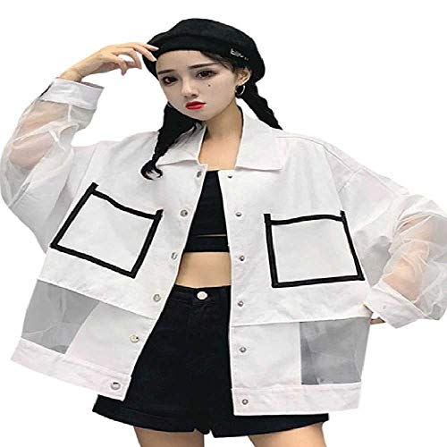 DUNDUNGUOJI Sun Protection Clothing Summer Oversize Sunscreen Jacket Women Big Pocket Windbreaker Coat Lose Casual Splized Sun Protection Plus Size Weiblich XL/weiß Pocket Windbreaker