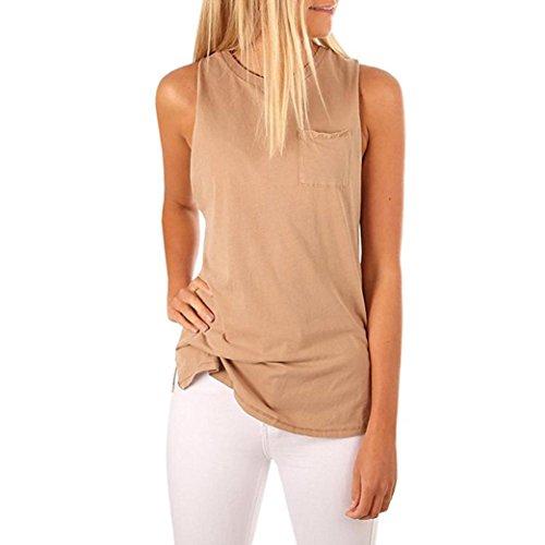 ESAILQ Damen Sportlich T-Shirt V Ausschnitt Kurzarm Top(S,Khaki)