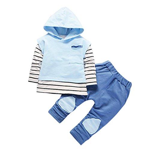 kleidung mädchen Kolylong® 1 Set ( 6-24 Monate ) Baby Mädchen Streifen drucken Anzug (Tops + Hosen) Herbst Suit Outfits Mit Kapuze Babykleidung (80CM(0-12 Monate), Blau)