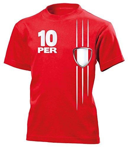Peru Fan Streifen 5987 Fussball Kinder Fanshirt Fun-T-Shirts Rot 116 -