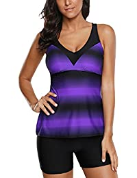 Aleumdr Womens Halterneck/Strapless Bandeau Twist Push Up Bikini Set Swimsuit