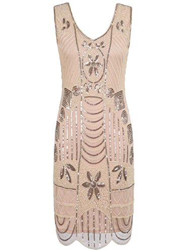 Kayamiya Damen Retro 1920er Perlen Pailletten Blatt Art Deco Gatsby Flapper Kleid S Champagne