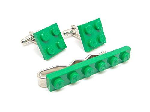 Vert authentique Lego plaque Pince à cravate et boutons de manchette - Funky rétro Cool Boutons de manchette fabriqué par Jeff Jeffers