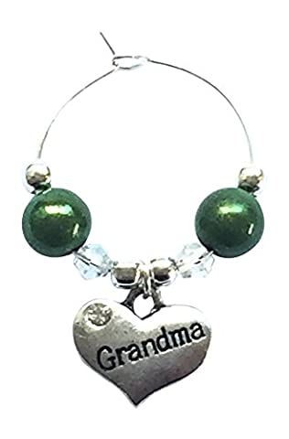 Grandma Wine Glass Charm with Gift Card by Libby's Market Place ~ From UK Seller