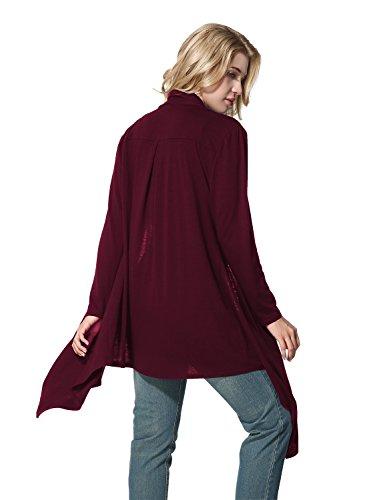 Yidarton Damen Strickjacke Cardigan Langarmshirt Irregular Beiläufige Lose Oberteil Mantel Cover Up Outwear Weinrot
