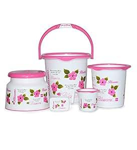 Cello Blossom 5 Piece Plastic Bath Set, Small, Pink