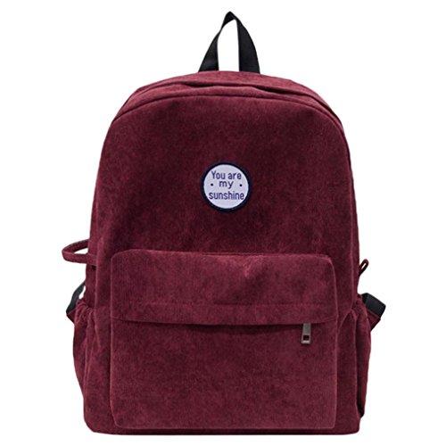 Rucksack Rcool Cord Schulter Buch Taschen Schule Reise Rucksack Tasche (Rotwein)