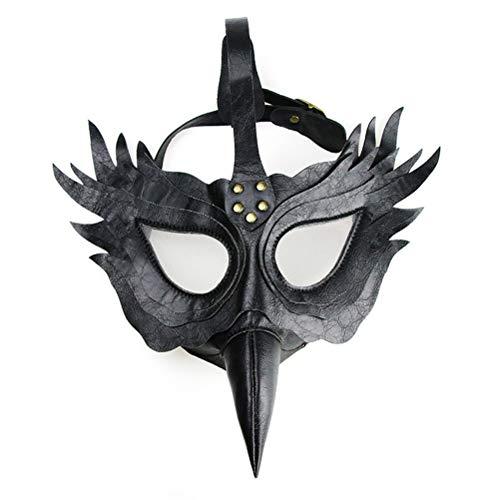 JINGYA Steam Punk Maske Gothic Cosplay Prop Langnasen Augenmaske Retro Rock Halloween Kostüm Requisiten-schwarz