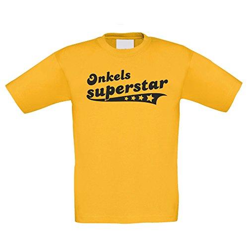 Shirtdepartment Kinder T-Shirt - Onkels Superstar - von Shirt Department, 122-128, Gelb-Schwarz (T-shirt Stolz Juniors)
