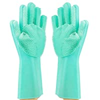Magic Dishwashing Gloves Reusable Silicone Gloves with Scrubber Brush Suit for Kitchen,Pet Grooming,Bathroom,Washing Car Cleaning FDA Certified & Heat Resistant Hand Scrub1 Pair By STWIE (Green)