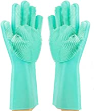 Magic Dishwashing Gloves Reusable Silicone Gloves with Scrubber Brush Suit for Kitchen,Pet Grooming,Bathroom,W