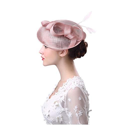 Braut Kopfschmuck, Bogen Feder Kopfschmuck Sommer Europa und Amerika Outdoor Damen Hut Western-Stil Leinen Garn Bankett Braut Hut