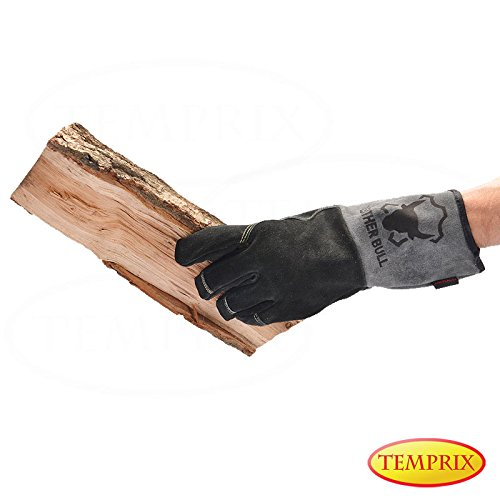 Preisvergleich Produktbild Handschuhe aus echtem Leder / geeignet für Kamin,  Ofen,  Grill & Backofen / Farbe schwarz / grau / Version Premium / Markenqualität von Temprix