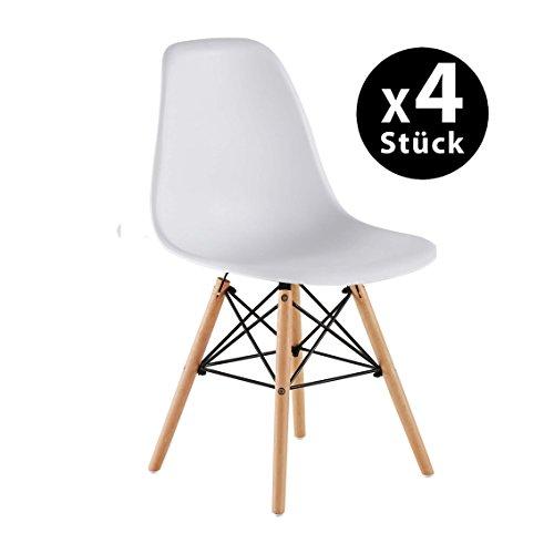 Pack de 4 Eames Style Chair- Mid Century Modern - Silla Eames Moldeada con Patas Eiffel de Madera de Dowel - Para Comedor, Cocina, Dormitorio, Salón - Fácil de Montar y Limpiar - Blanco