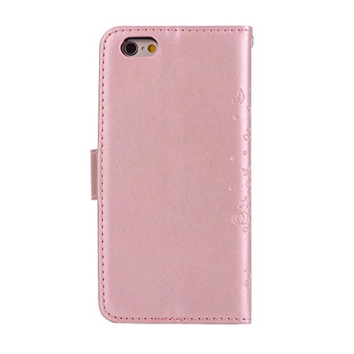 EKINHUI Case Cover Abnehmbare 2 in 1 Crazy Horse Texture PU Ledertasche, Fairy Girl Embossed Pattern Flip Stand Case Tasche mit Lanyard & Card Cash Slots für iPhone 6 Plus & 6s Plus ( Color : Rosegold Rosegold