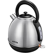 Aicok Electric Kettle 3000W Fast Heating Retro Style Brushed Stainless Steel Kettle, Electric Kettle with Level Indicator, Cordless, Auto Shut-off, BPA-Free