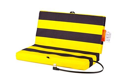 Faltbares Stadion Heizkissen USB Powerbank: Elektrisches Sitzkissen für kalte Jahreszeiten - Wasserabweisendes und schmutzresistentes Stadionkissen - Warmes Outdoor Klappkissen - Schwarz/Gelb