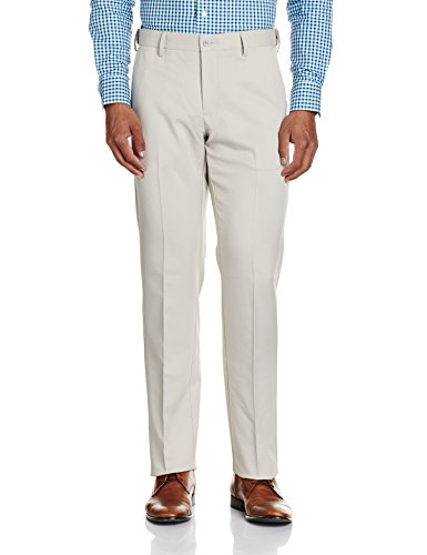 Excalibur Men's Relaxed Fit Synthetic Formal Trousers (400016062021_Stone_34W x 35L)