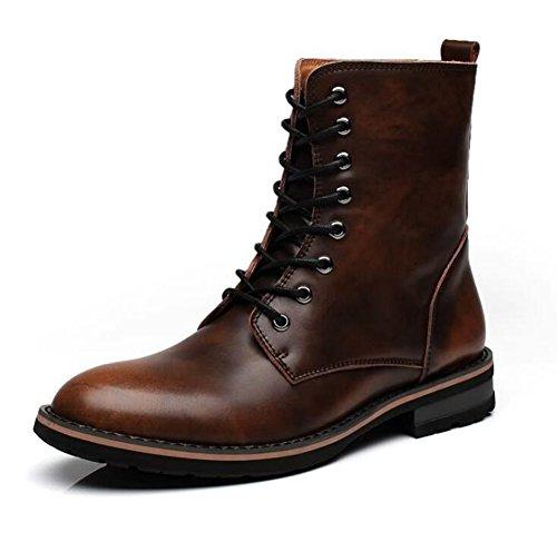 Men's Two-Tone Leder Formal Kleid Stiefel Schnürung Brogue Wing Spitze Schuhe chelsea Stiefel 35-44 ( Color : Brown , Size : 40 ) (Jungen-brown-leder-kleid-schuhe)