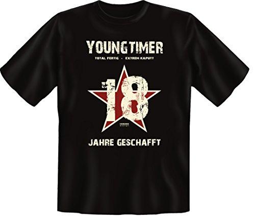 Geburtstags-Fun T-Shirt Geschenk zum 18 Geburtstag Youngtimer Motiv Youngtimer Farbe: schwarz auch Übergrößen 3XL 4XL 5XL Schwarz