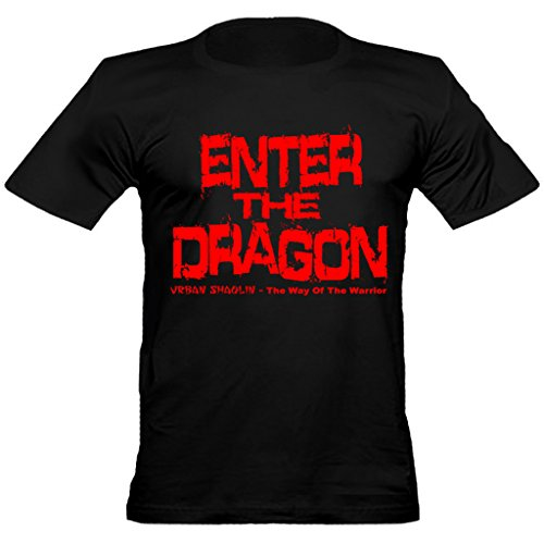 Urban Shaolin Men's Bruce Lee Enter The Dragon Text Inspired Fitted T Shirt, Black