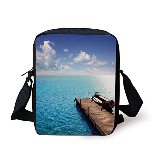 Summer,Wooden Deck on Charm Lake Holiday Europe Coast Tranquil Sea View,Violet Blue Turquoise Redwood Print Kids Crossbody Messenger Bag Purse - Redwood-deck