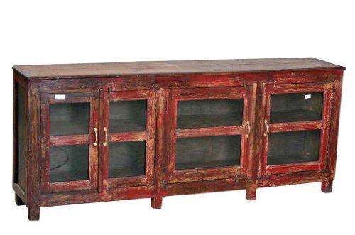 Luxury-Park Indien 1910 Anrichte Glaskommode Kredenz Sideboard Vitrine - Massivholz-kredenz