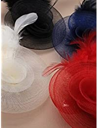 Ladies Beautiful Flower Net and Feather Hair Fascinator. Available in Colours of Navy, Red, Black or Cream.