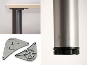lot de 4 pieds de table r glables en hauteur 820 mm 30 mm env 60 mm chrom mat. Black Bedroom Furniture Sets. Home Design Ideas