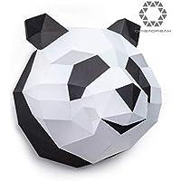 ORIGADREAM trophée Papercraft Panda en Kit 3D à assembler soi-même, Papier cartonné épais 300g PRÉ-COUPÉ