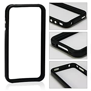 Invero® SOLID BLACK Hard Plastic Rubber Bumper Case with Metal Buttons for Apple Iphone 4S