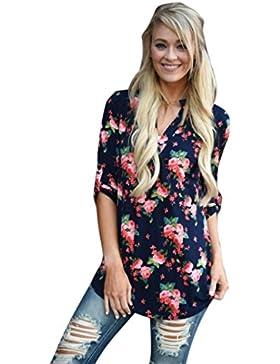 SMARTLADY Moda Mujer Impreso floral Casual Suelto Camisa Tops Blusa Camiseta