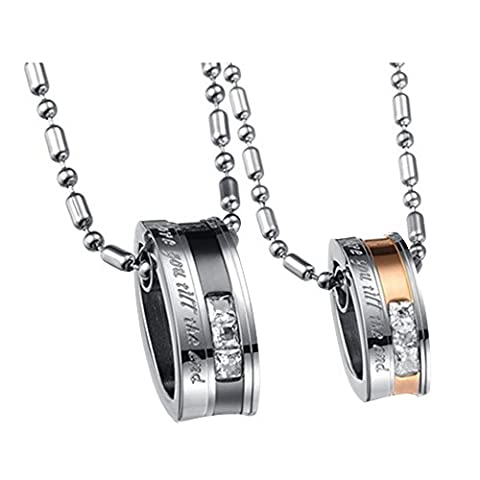Contever® 1 set of 2pcs Lovers Mens Womens Love You Till Be The End Stainless Steel Pendant Love Necklace Set, Couples Valentine's Gift with 1 pcs Free Black Velvet Bag, Chain Length :55 cm