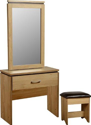 Charles 1 Drawer Dressing Table Set in Oak Effect Veneer with Walnut Trim/Brown PU