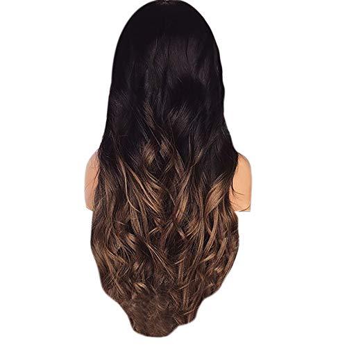 ke, Farbverlauf natürliche braune Party Perücke lange volle lockiges Haar Mode synthetische Perücke ()