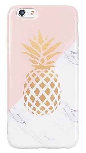 3C Collection Coque Iphone 6 Marbre, Coque Iphone 6S Ananas, Coque Rose Géométrique Doux IMD Marbre pour Iphone 6 et Iphone 6S Coque de téléphone de Mode Fille