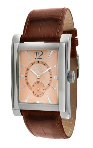 gino franco Men's 902RG Stainless Steel Case and Genuine Leather Strap Watch