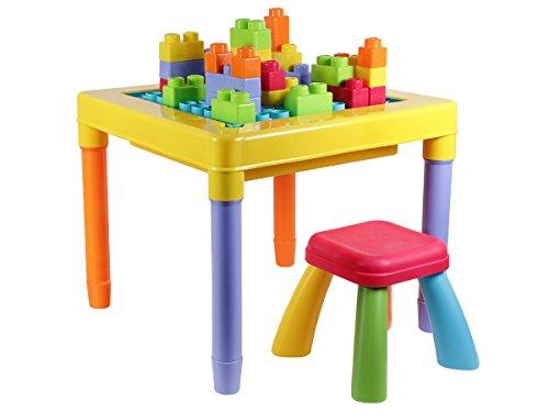Tavoli Per Bambini In Plastica.Tavolino Multiattivita Con Cubetti Di Costruzione E Sedia Per Bimbi
