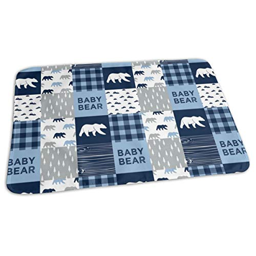Baby Bear Patchwork Quilt Top Baby Blue And Navy Baby Portable Reusable Changing Pad Mat 19.7x 27.5 inch -