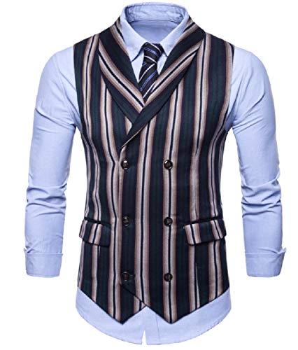 CuteRose Mens Formal Large Size Pinstripe Raw Cut Hem Tuxedo Vest Green M -