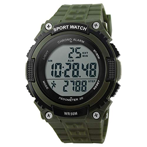 JBP Max Mens Sport Waterproof Watch Multi-Funktion Digital Watch Men Es Sports Wasserdichte Elektronische Uhr Outdoor-Reituhr Genaue Stoppuhr,A