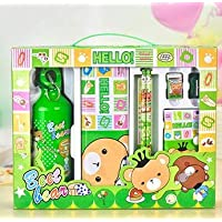 ‏‪Stationery Set - Cartoon Stationary Set School Kids Stationery Supplies as School Prize (SET 2 GREEN)‬‏